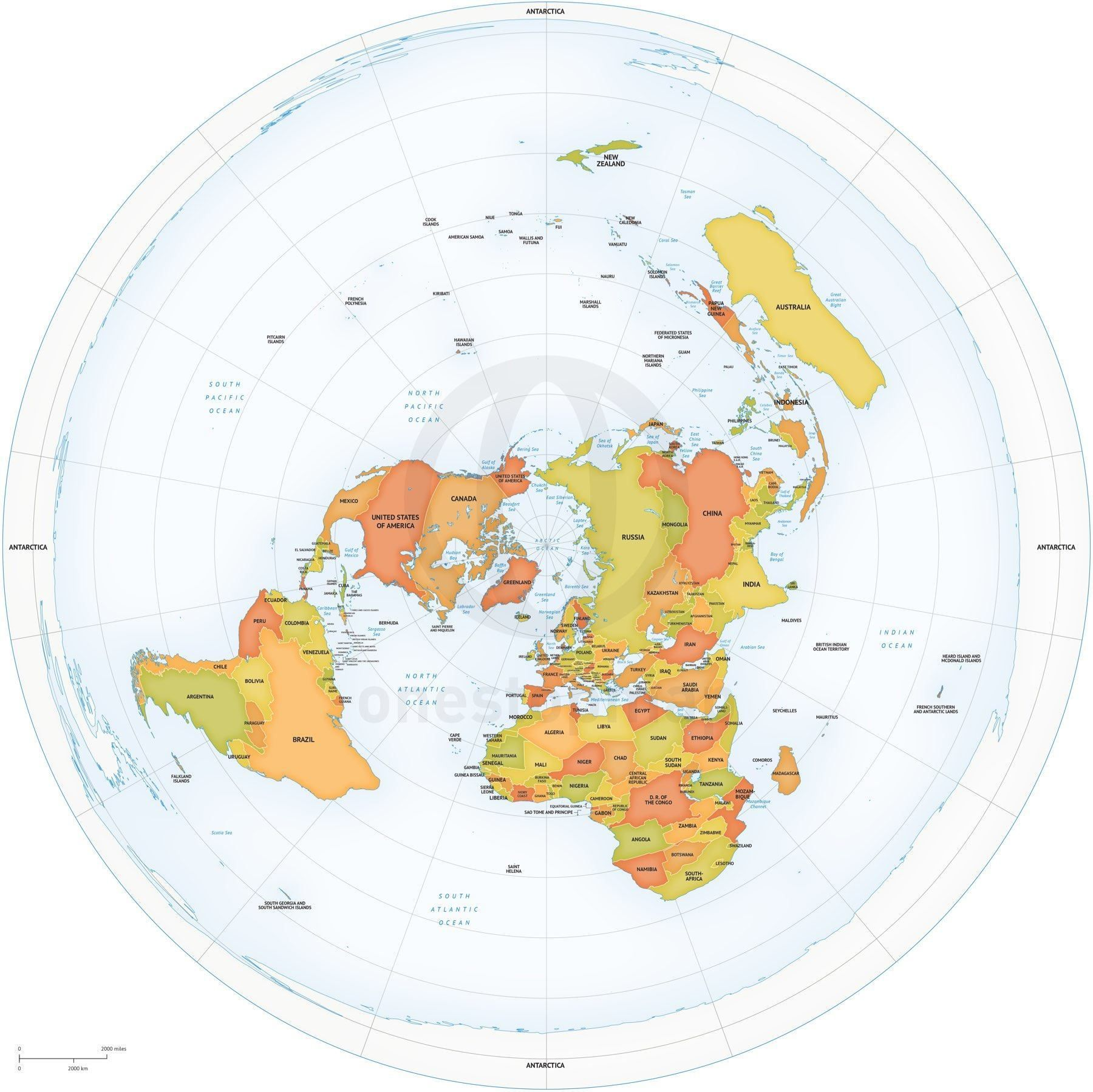 world map with north pole in center