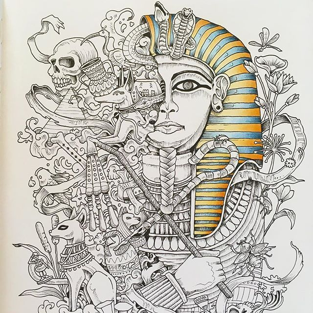WIP 1... The beginnings of a pharaoh! #adultcoloring # ...