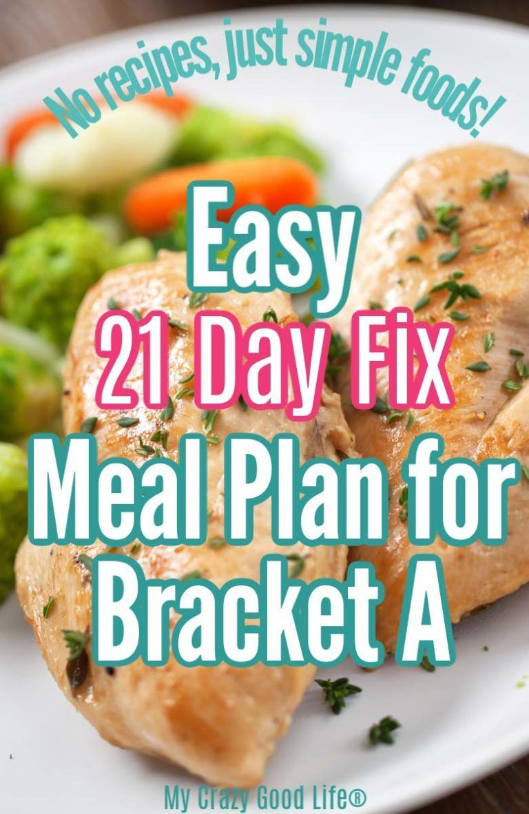 Easy 21 Day Fix Meal Plan for Bracket A 1200 Calories
