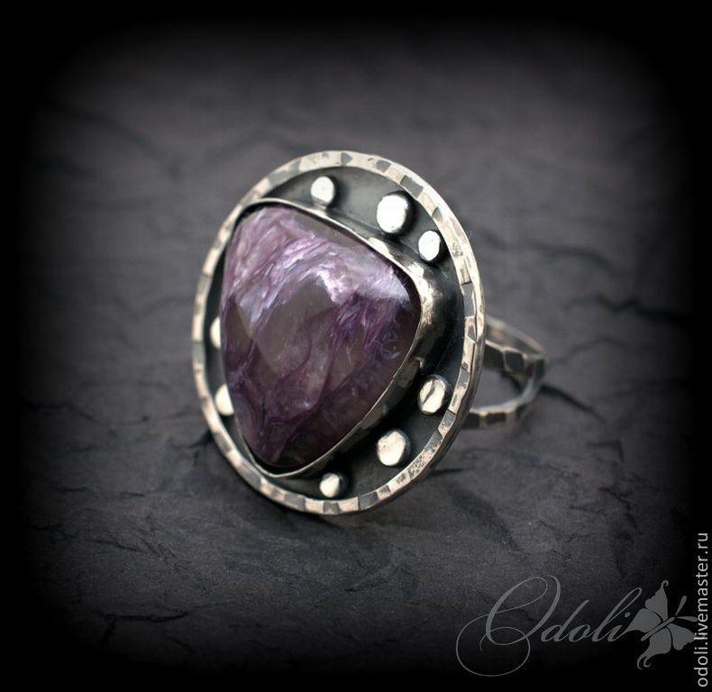 Купить Кольцо с чароитом в серебре UFO - фиолетовый, женское украшение, подарок женщине, украшение на заказ