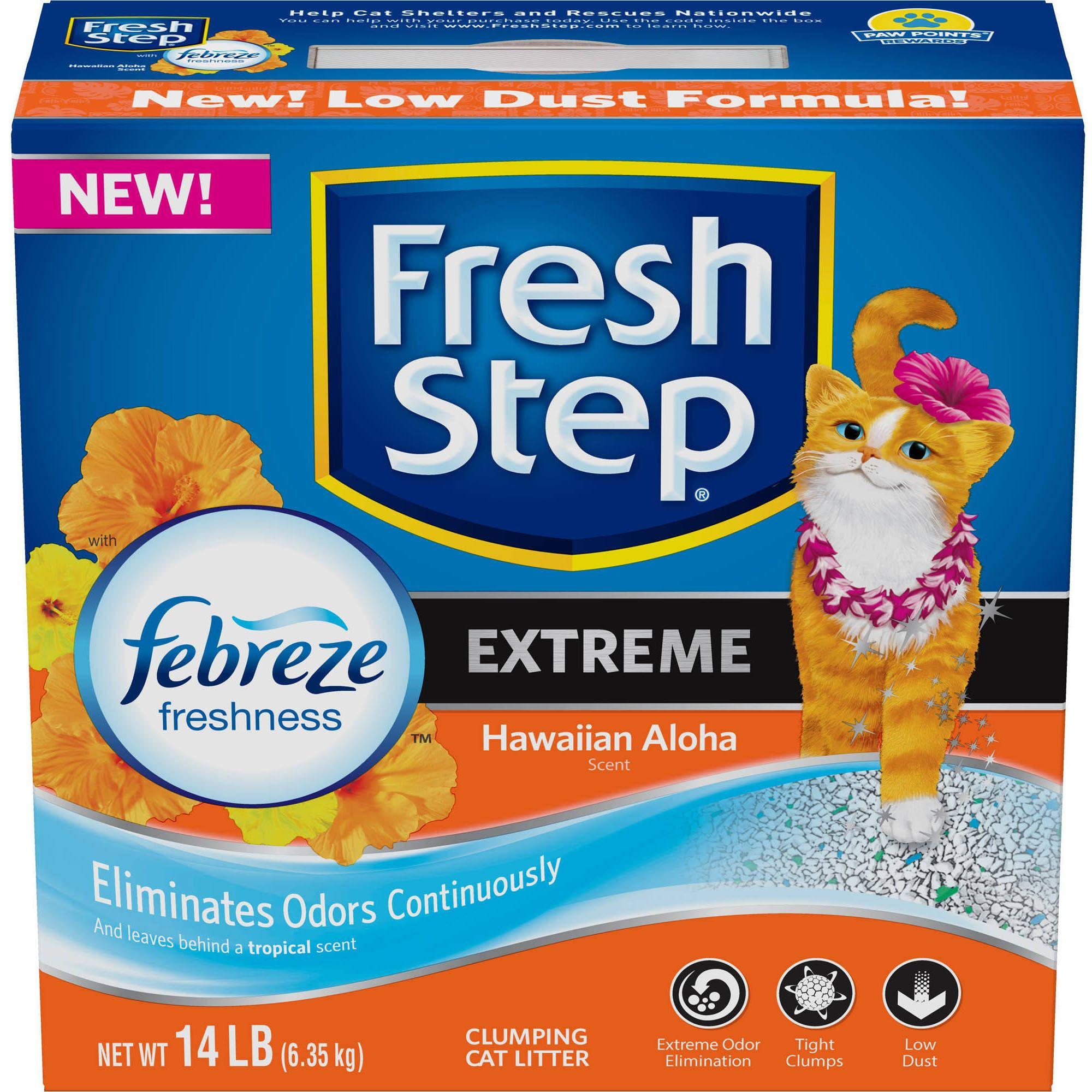 Fresh Step Extreme with Febreze Freshness Clumping Cat Litter, Hawaiian Aloha, 14 lbs - Walmart.com