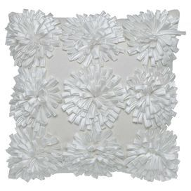 """Pillow with textured rosette details.   Product: PillowConstruction Material: Polyester coverColor: White Features:  Insert included3-Dimensional flowers Dimensions: 18"""" x 18""""Cleaning and Care: Dry clean only"""