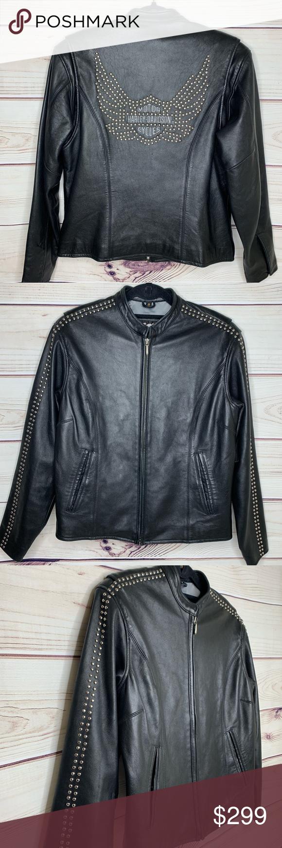 Harley Davidson Studded Leather Jacket With Wings Studded Leather Jacket Leather Jackets Women Leather Jacket [ 1740 x 580 Pixel ]