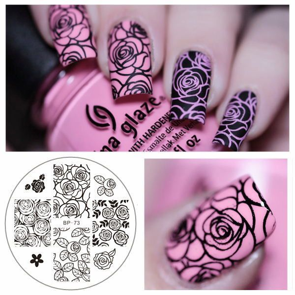 BORN PRETTY BP73 Rose Flower Nail Art Stamp Template Image Plate - stamp template