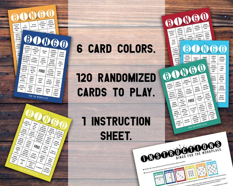 BINGO for the Workplace (120 cards) BINGO Cards for Work