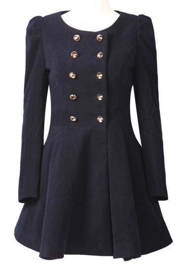 Navy Round Neck Skirt Hem Military Wool Coat pictures