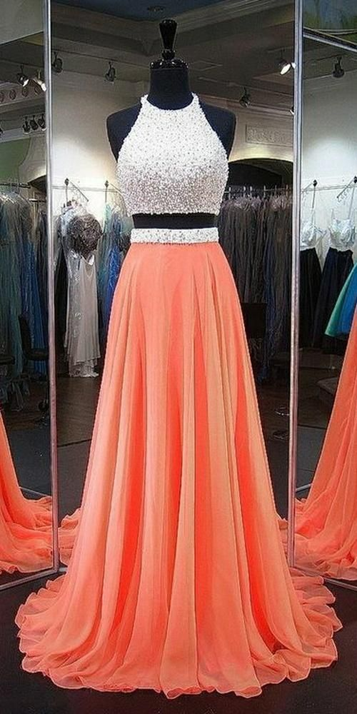cf69d927220c4 Sparkly Halter Beaded 2 Pieces Prom Dress Custom Made Long Two Pieces  School Dance Dresses Fahion