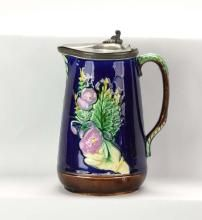 Majolica cobalt pewter top pitcher with hand hold