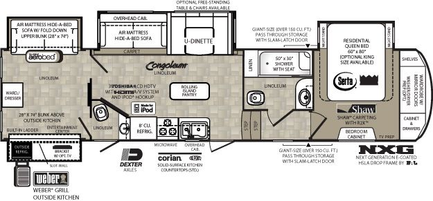 Wildcat Fifth Wheel By Forest River 344qb 2 Bed 1 5 Bath Shower 38 10 Entertaining In Correct Area Rv Floor Plans Camper Flooring Fifth Wheel Campers