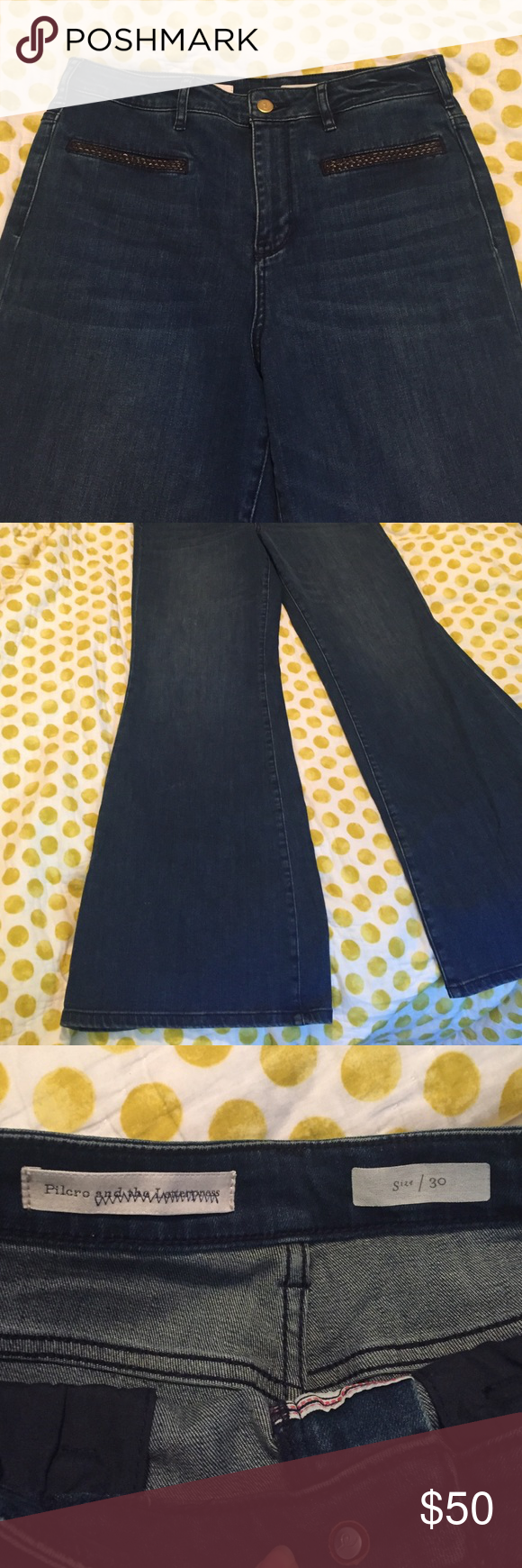 Anthropologie Pilcro Flare Jeans- Size30 Anthropologie Pilcro and the Letterpress Jeans! So, so cute- great fit with flare leg. Worn once! Great little braided leather pockets- perfect condition. Size 30-or size 10. Fit true to size. Anthropologie Jeans Flare & Wide Leg