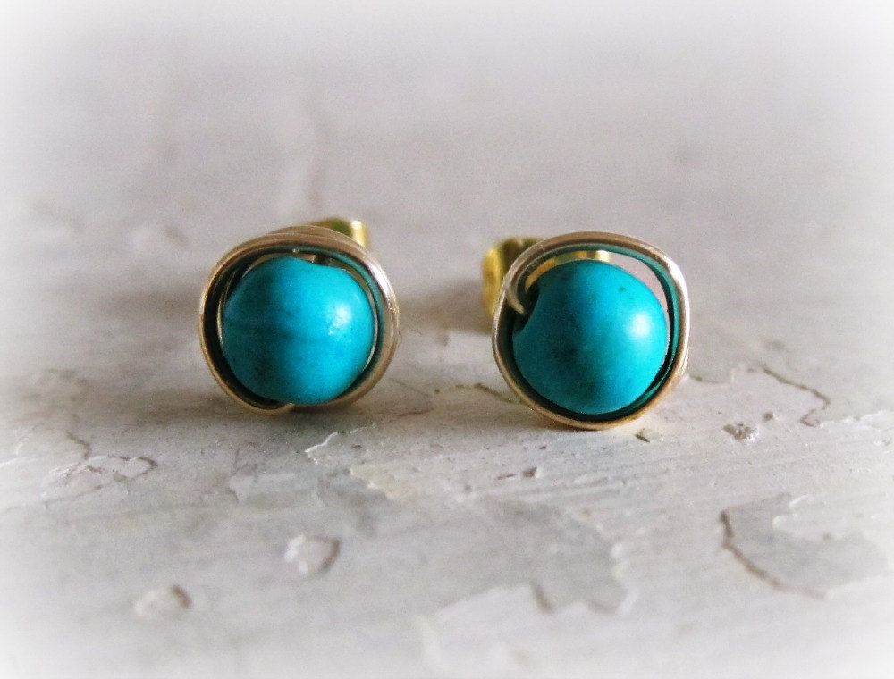 Turquoise Gold Stud Earrings /16