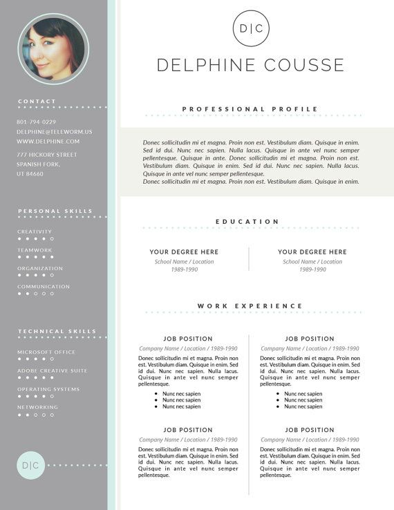 Creative Resume Template And Cover Letter By Botanicapaperieshop
