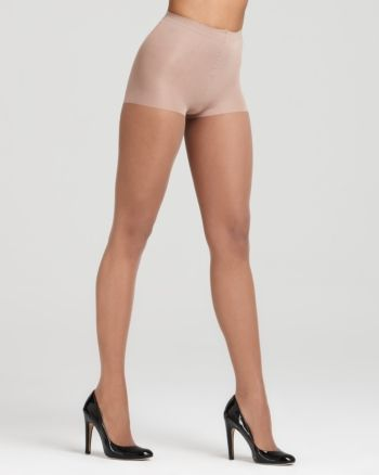 A silky sheer leg with control top for a slim silhouette.