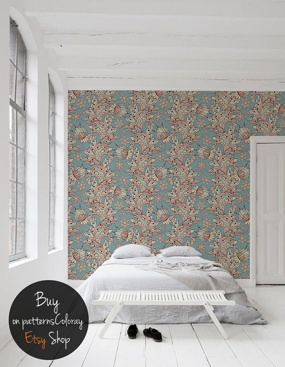 Floral Fairytale Colorful Wallpaper Vibrant Pattern Etsy Home Wallpaper Removable Wall Murals Colorful Wallpaper