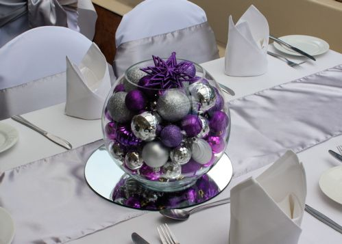 Purple And Silver Bridal Shower/wedding Centerpiece. Silver And Purple  Ornaments