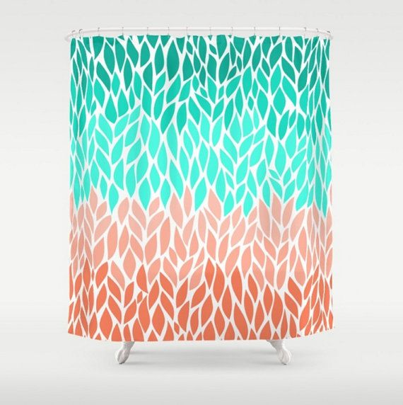 Shower Curtain Teal Coral Mint Green Leaf By LoveThatTooMuch
