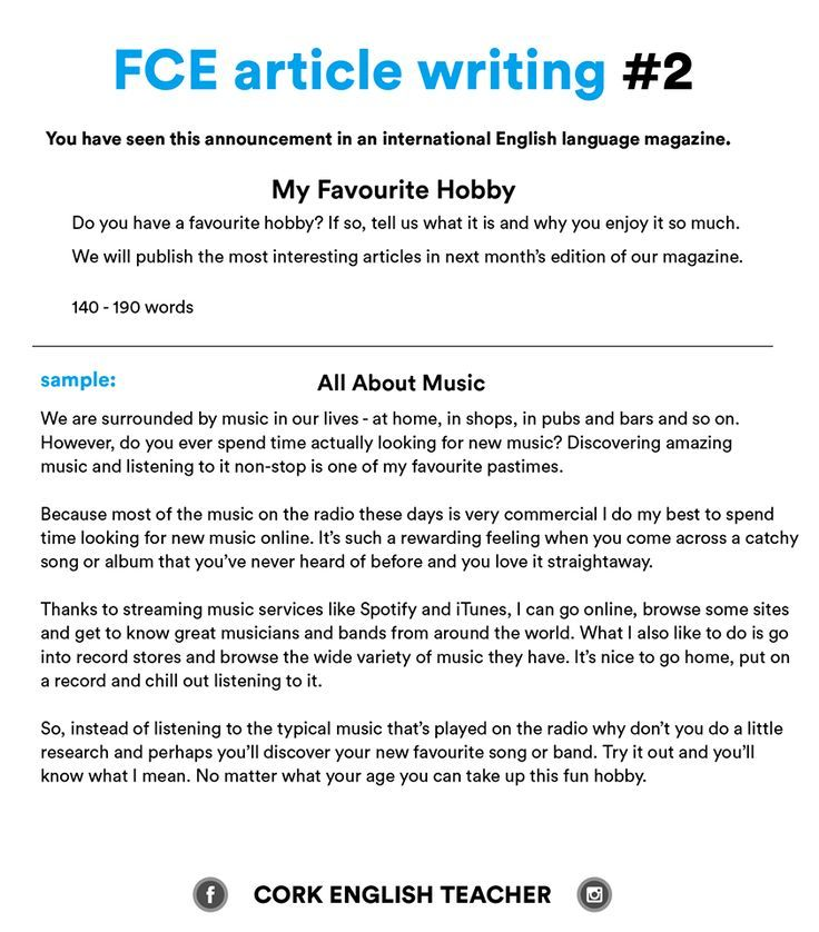 First Certificate Exam - FCE article writing 2 - My Favourite - examples of interests