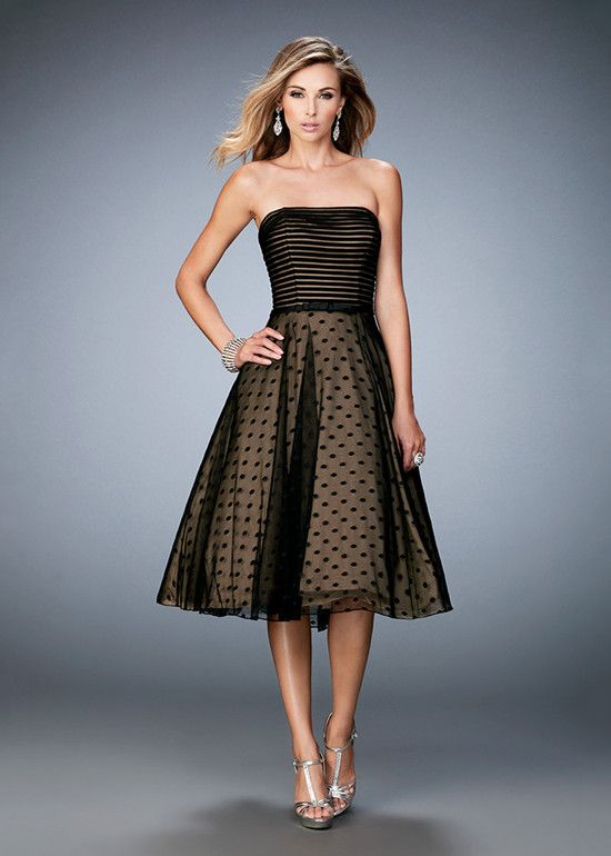 La Femme 22961 is a sophisticated tea length prom dress with polka dots and  contrast lining. The gown features a contrast striped bodice with straight  ...