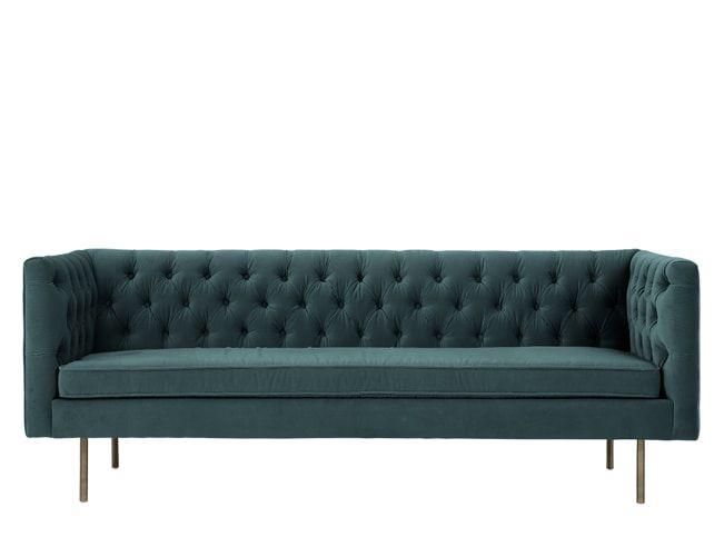 Made 3 Seater Sofa Petrol Cotton Velvet Blue Julianne 3 Seater
