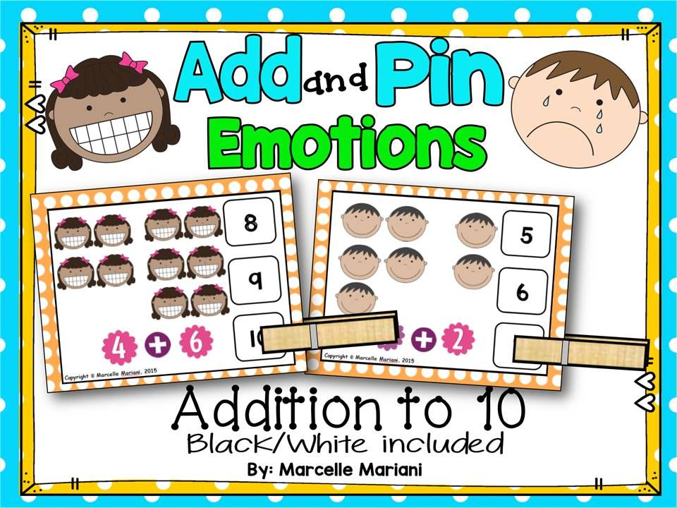 Feelings And Emotions Add And Pin Task Cards Math Center