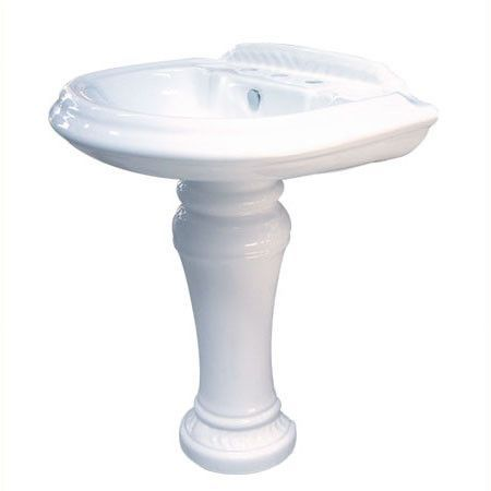 """Naples China Wall Mount Pedestal Bathroom Sink with 8"""" Centers"""
