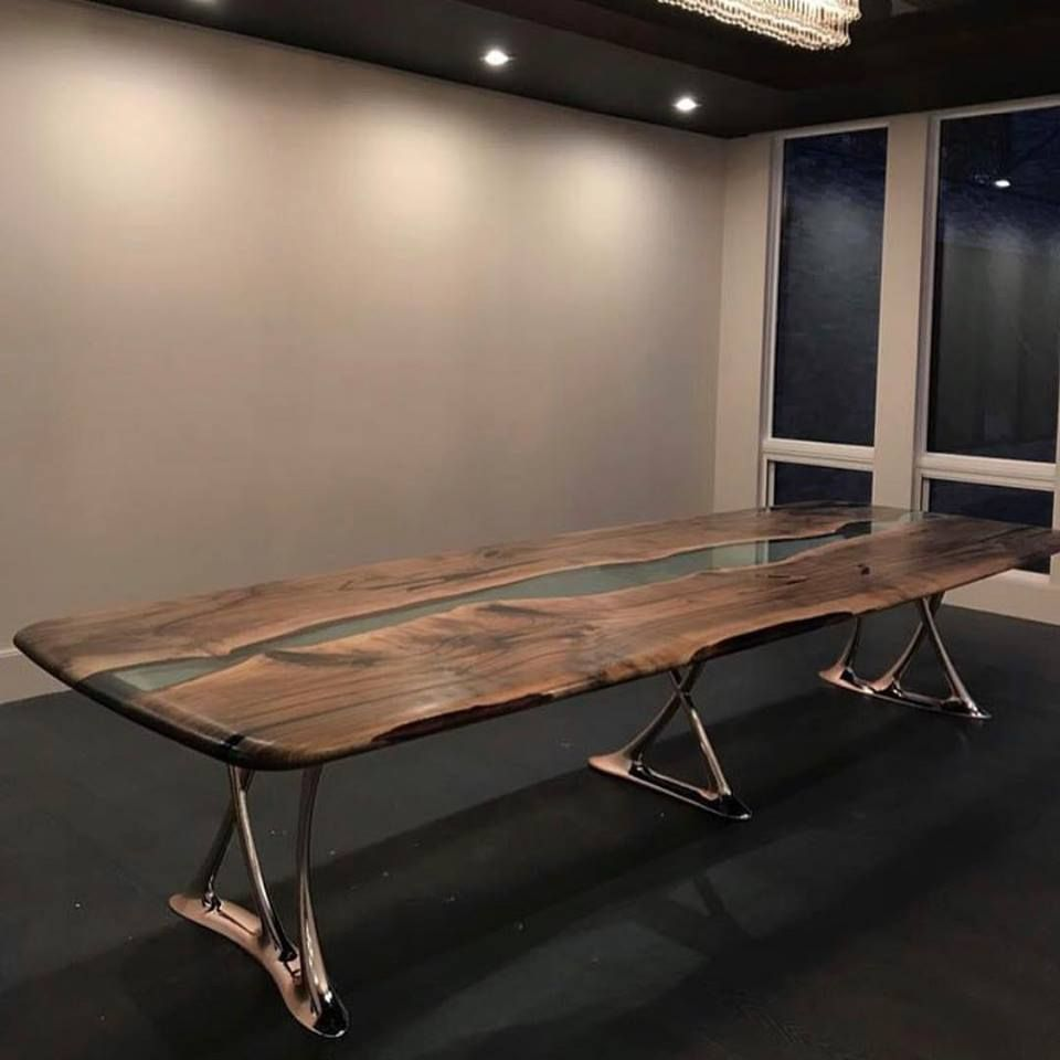We Are Proud To Have Created The First Largest Wood And Resin Table In The United States For A Private Client This Piec Resin Table Table Dinning Room Tables