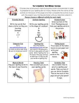 November Spelling Menu | Menus | Spelling menu, Spelling, Menu