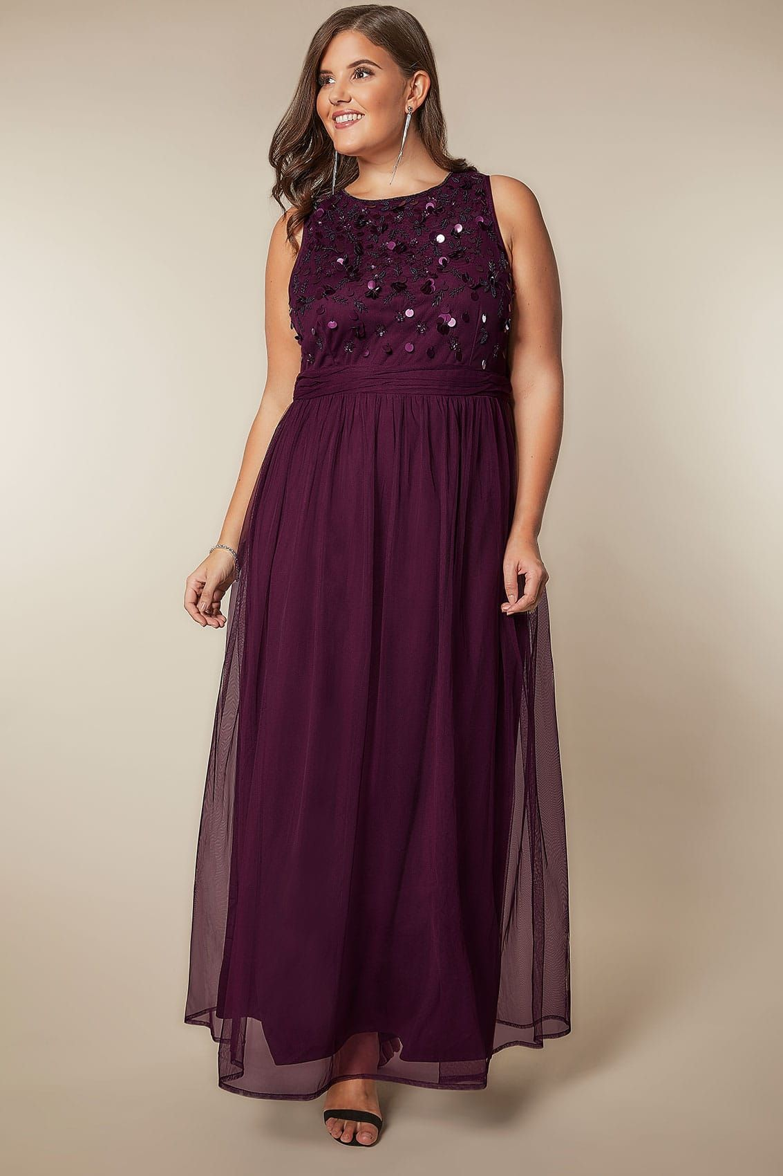 Luxe dark purple bead sequin embellished maxi dress