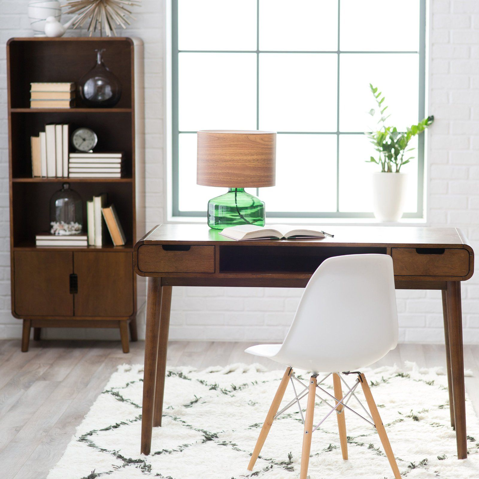 Belham Living Carter Mid Century Modern Writing Desk Writing Desk Modern Mid Century Modern Desk Mid Century Modern Office