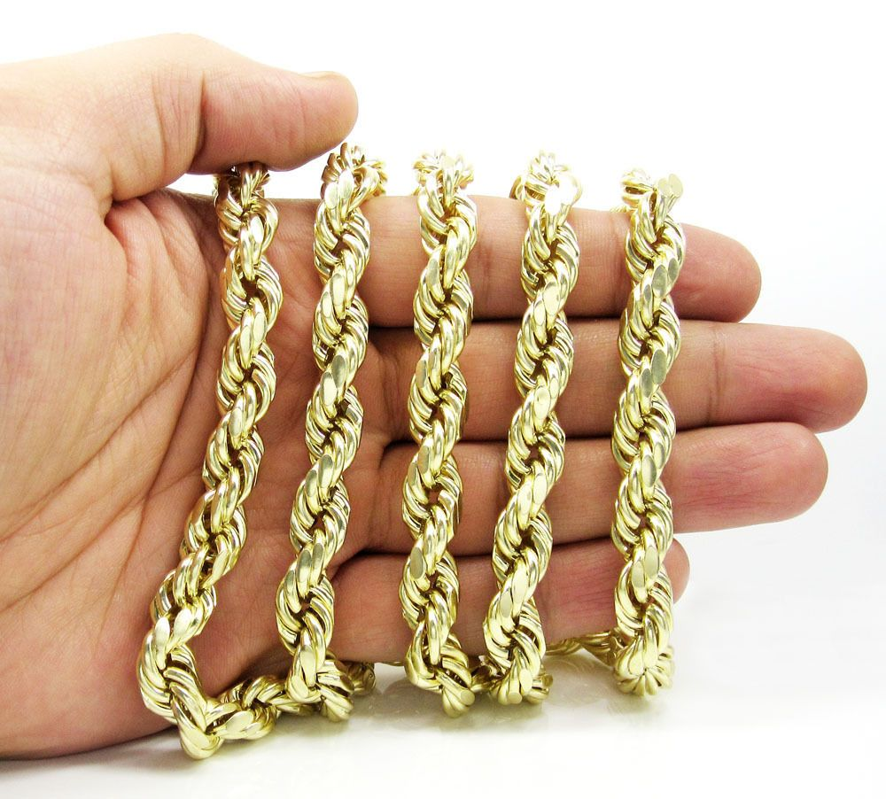 9f64e55288edf Details about 1MM to 10MM 10K Yellow Gold Diamond Cut Rope Chain ...