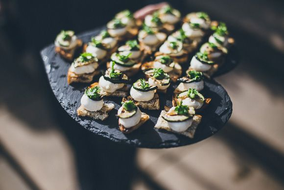 These love heart shaped slate plates are amazing! Image by Matt Horan Photography #wedding #bride #romantic #vintage #food #canapés #ideas #love #heart