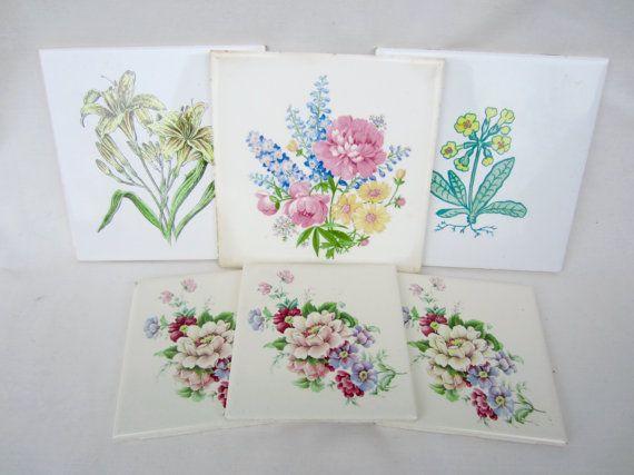 6 flor Floral botánica vintage impresión cerámica cocina baño azulejos
