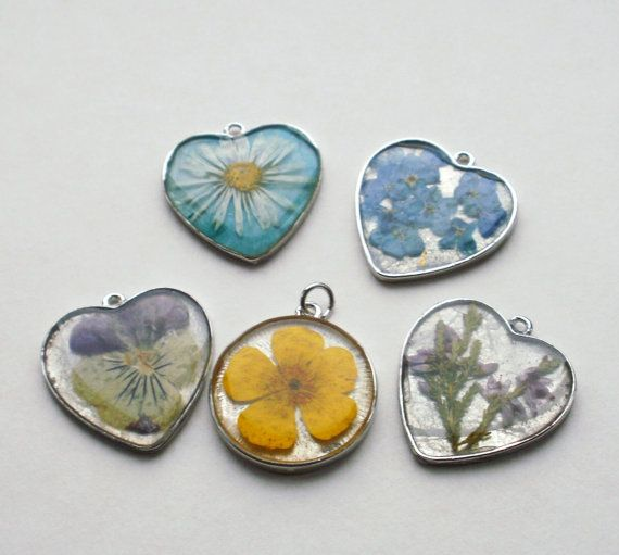 Pressed Flower Necklace Pendant by LittleSilverFingers on Etsy, £16.00
