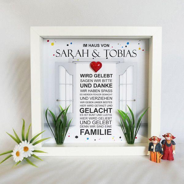 Elegant Familie. Haus. Bilderrahmen. 3D. Liebe. Herz. Handmade. Geschenk Für
