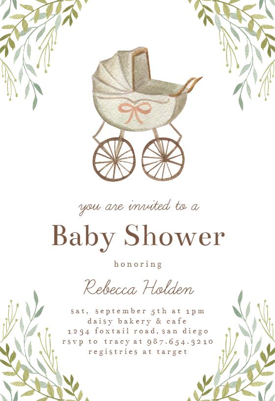 Watercolor Stroller Baby Shower Invitation Template Greetings Island Baby Shower Invitations Diy Baby Shower Greetings Safari Baby Shower Invitations