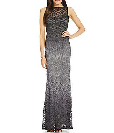 Jump Sleeveless Ombre Glitter Lace Long Dress Dillards Prom