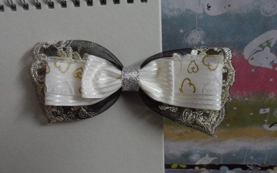 #White stripe ribbon with embroidery lace hair bow by LoveMeLoveYourself, #hair accessory