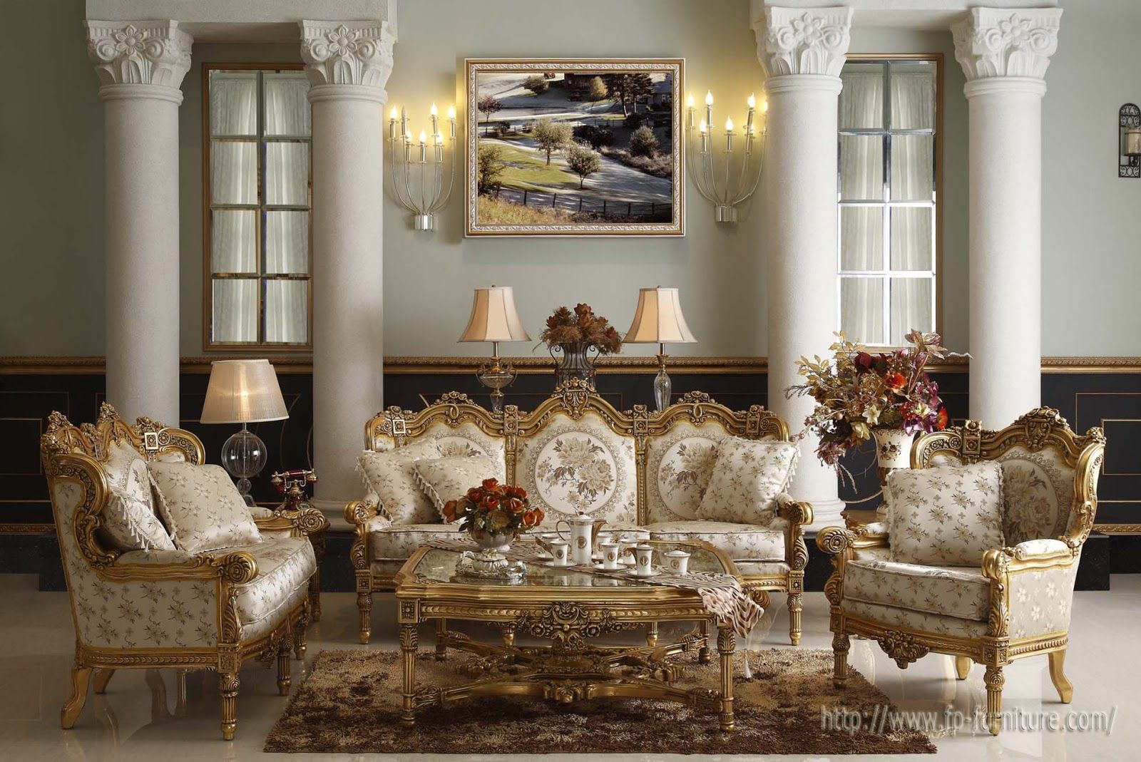 Tuscan Style Living Rooms | Filiphs Palladio: Italian Classic Hand Carved  Royal Furnitures