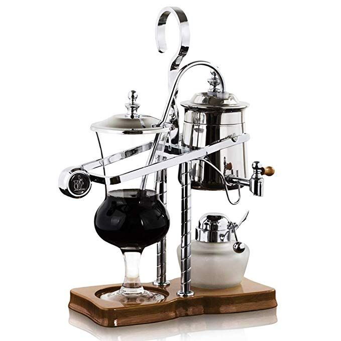 Belgian Belgium Royal Family Balance Siphon Syphon Coffee Maker with Tee handle Silver Color,1 ...