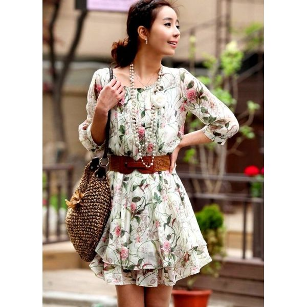 Summer Chiffon Half Sleeve Floral Cute Dress with FREE Belt ...