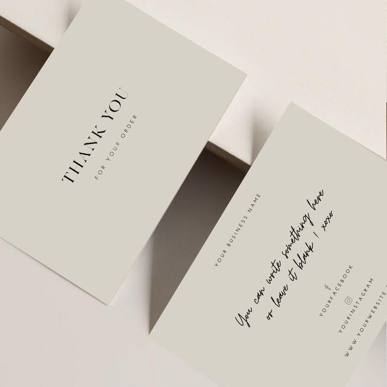 Printable Luxury Thank You For Your Order Cards Template Etsy Kartu Nama Bisnis Kartu Nama Kartu