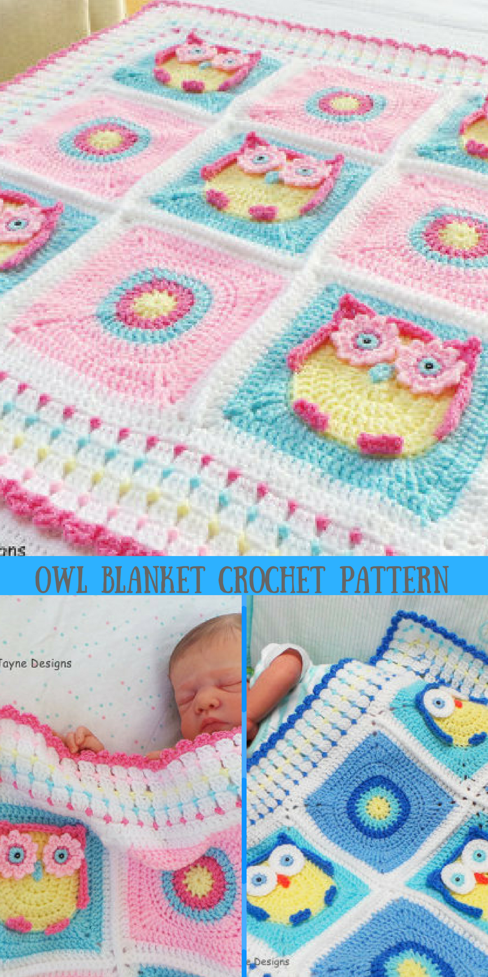 This blanket is absolutely precious! Owl baby blanket Crochet ...