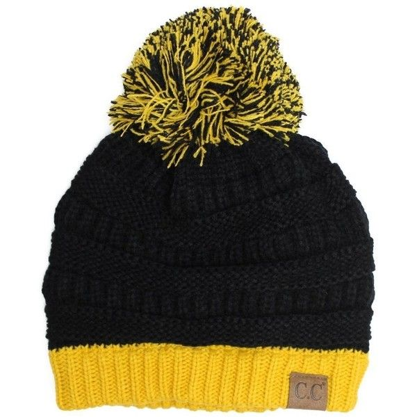134b785a5 Fan Day Beanie- Black Yellow ($22) via Polyvore featuring ...