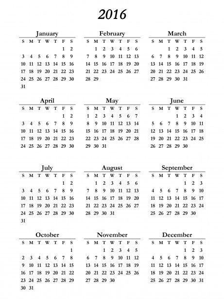 2016 Calendar 2016 Calendar Calendar Template Blank Calendar