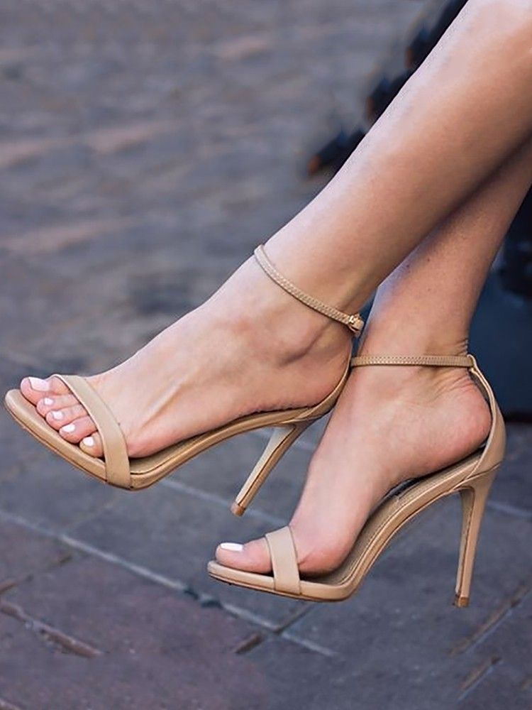 4650741e6b9d Sexy Ankle Strap High Heel Stiletto Sandals. Sexy Ankle Strap High Heel  Stiletto Sandals Tan Strappy Heels ...