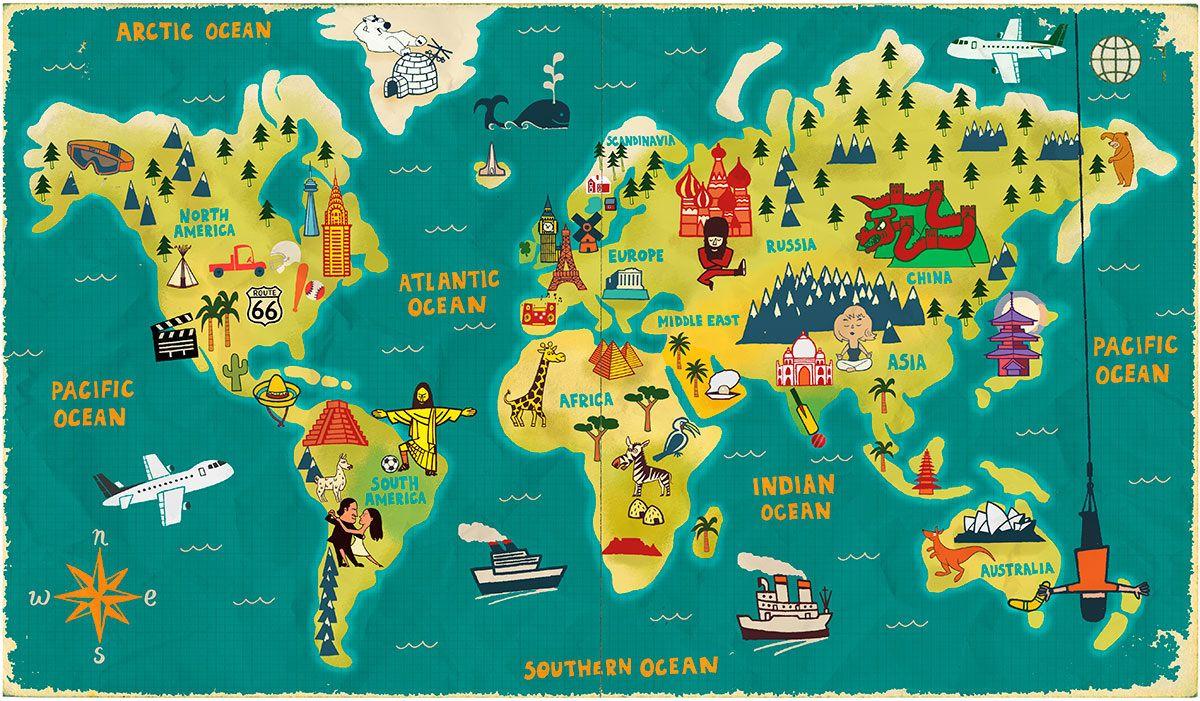 r sultat de recherche d 39 images pour planisphere enfant illustrateur voyage autour du monde. Black Bedroom Furniture Sets. Home Design Ideas