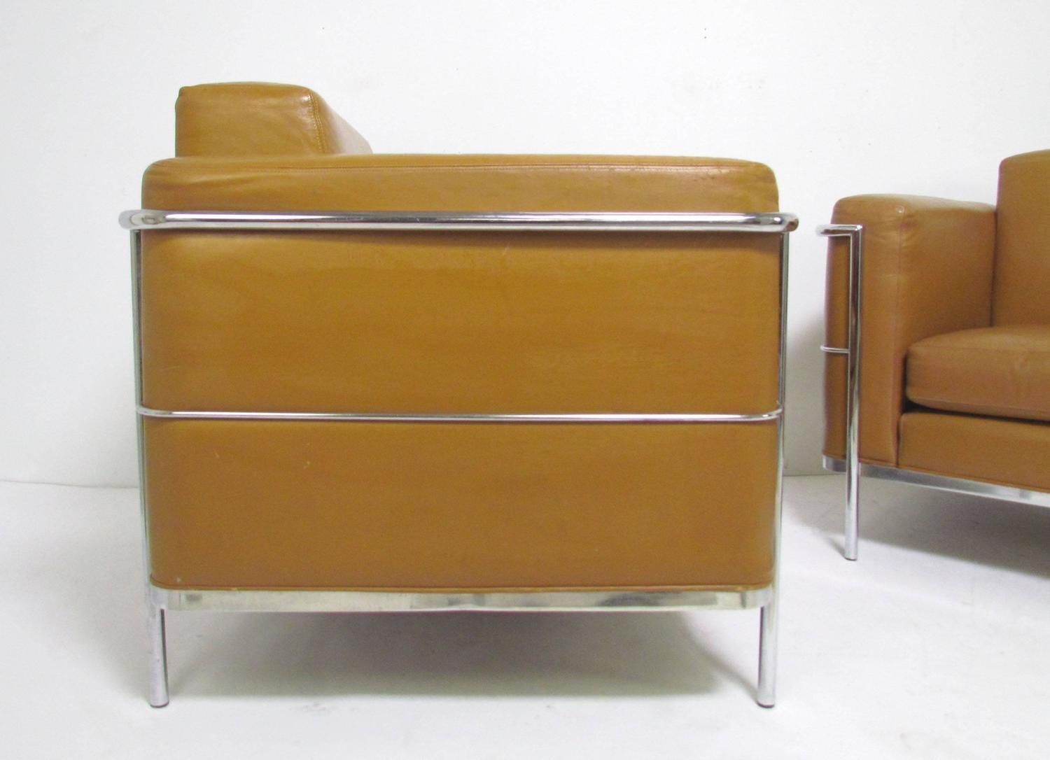 Pair Of Leather Lounge Chairs By Jack Cartwright In Manner Of Le Corbusier 3
