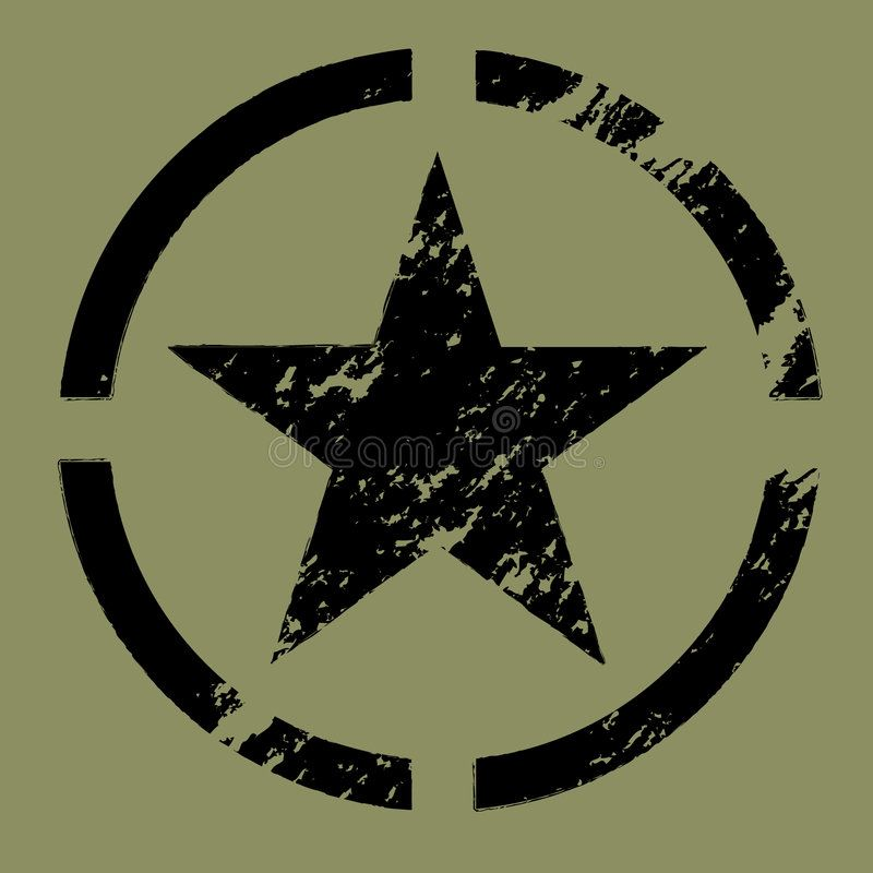 Military Star Symbol Black A Weathered Military Star In A Circle