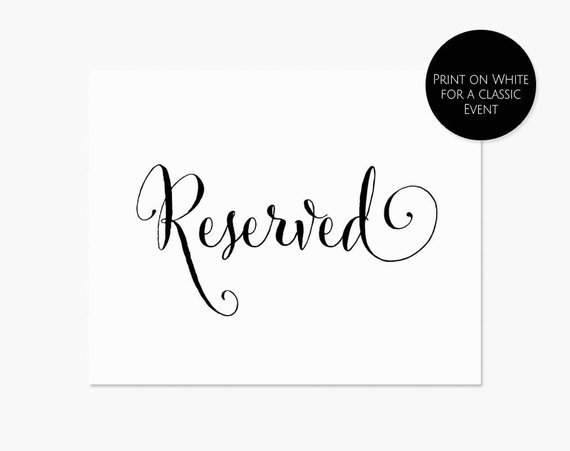 Printable Reserved Sign 8x10 Reserved Table Sign Instant Download
