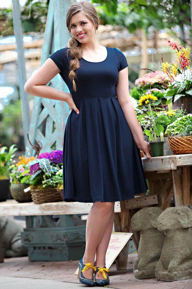 Ivy Modest Dress In Navy Restocked Knee Length Dresses Casual Dresses Modest Dresses